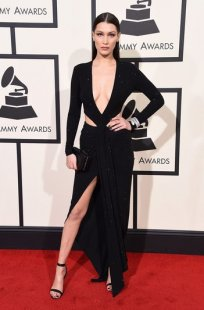bella hadid black colored dress grammys 2016