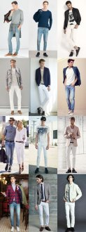guys's Light Wash and White Jeans Outfit Inspiration Lookbook