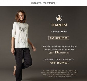 Offer a price reduction code to market your fashion collection - Easypromos