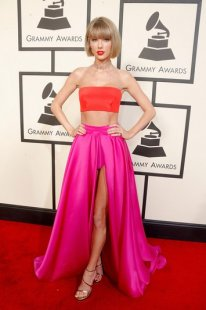 taylor swift pink purple crop top grammys 2016