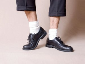 White socks with guys's dress footwear